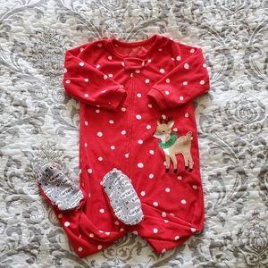 Carter's Christmas Fleece Zippered Pajama 18M